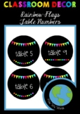 CLASSROOM DECOR - Table Numbers (Rainbow Flags)