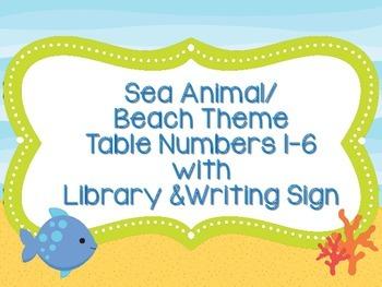 Table Numbers-Sea Animal/Beach Theme with Bonus Signs