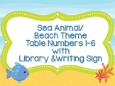Table Numbers-Sea Animal/Beach Theme with Bonus Signs
