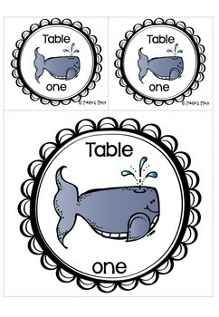 Table Numbers Sea Theme