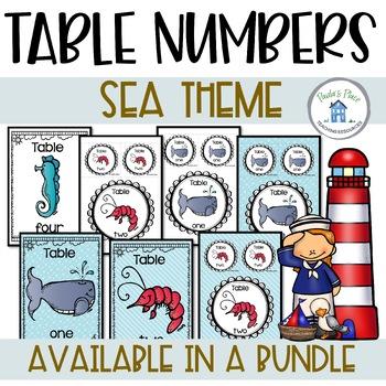 Table Numbers - Sea Theme