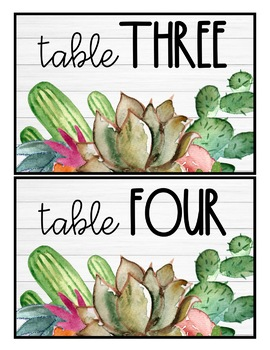 Table Numbers: Cactus Shiplap Decor