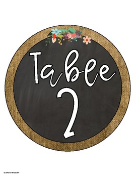 Table Numbers Signs Chalkboard and Burlap Theme