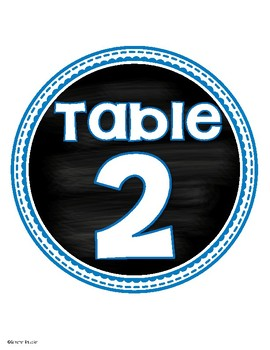 Table Numbers Signs Chalkboard Bright Color Theme