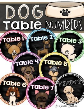 Table Numbers Signs Dog Theme