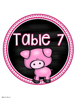 Table Numbers Signs Farm Animals Theme