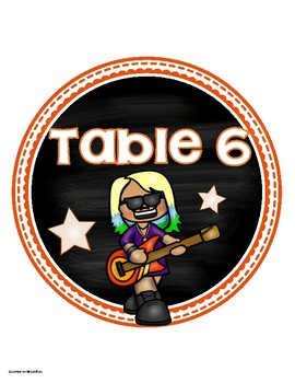 Table Numbers Signs Rockstar Rock n' Roll Theme