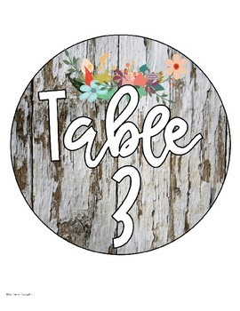 Table Numbers Signs Rustic Farmhouse Shabby Chic Wood Theme