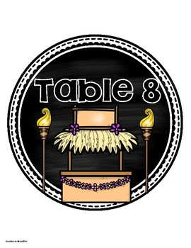 Table Numbers Signs Tropical Tiki Luau Beach Theme