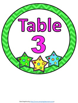Table Numbers Star Theme 1-6