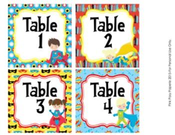 Table Numbers Superhero Theme Decor