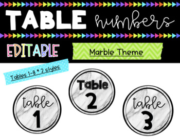 Table Numbers || Tables 1-8 || Marble || 2 Styles