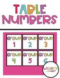 Table Numbers - Team Numbers - Group Numbers
