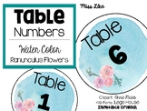 Table Numbers- Water Color Theme