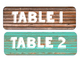 Table Numbers and Banners with Wooden Background
