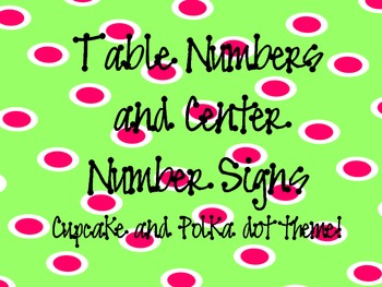 Table Numbers and Center Signs