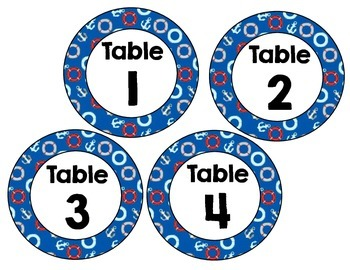 Table Numbers and Colors Nautical Theme