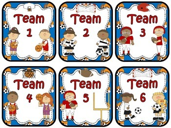 Table Numbers and Team Numbers ~ Sports Theme