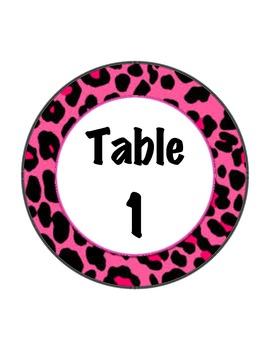 Table Numbers - animal print