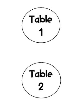 Table Numbers for Caddies