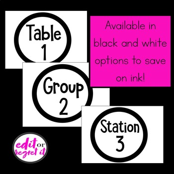 Table Numbers for Groups and Stations