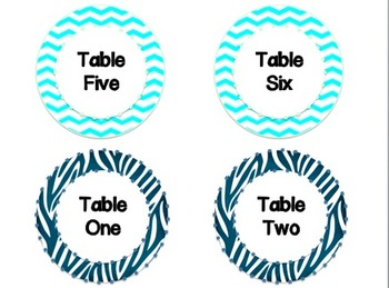 Table Numbers in a Variety of Themes/Colors