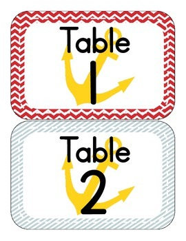 Nautical Thened Table Numbers (only)