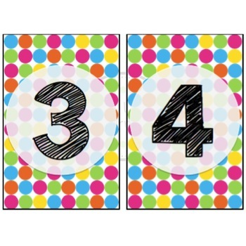 Ikea Frame Table Numbers (rainbow dots)