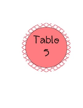 Table Numbers with Coral Colors