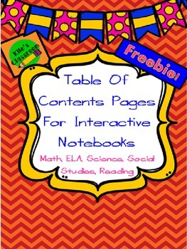 Table Of Contents Pages for Interactive Notebooks- All Subjects