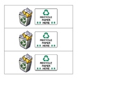 Table Paper Recycle Bin Labels