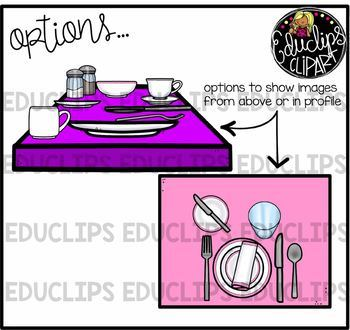 Table Place Settings Clip Art Bundle {Educlips Clipart}