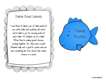 Table Point Labels - Fish - FREEBIE