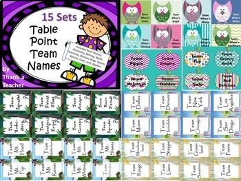 Table Point Team Names 15 sets Laminate Labels for Easy Teams Any Grade