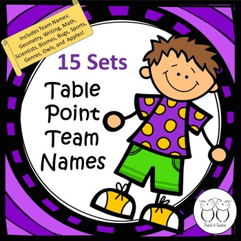 Table Point Team Names 15 sets Laminate Labels for Easy Te