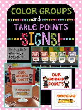 Table Points & Color Groups Signs!