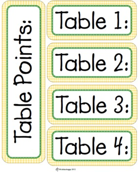 Table Points Labels