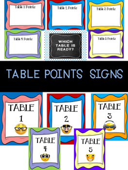 Table Points Signs for transitioning between subjects