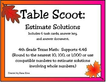 Table Scoot:Estimate Solutions (TEKS 4.4G)