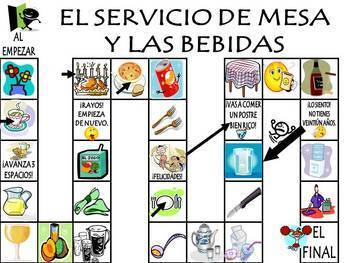 Table Service & Drinks Vocabulary Activities & Games Unit in Spanish