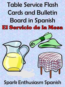 Table Service (Servicio de Mesa) Flash Cards/Bulletin Board (Spanish)