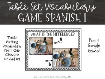 Table Setting Vocabulary Game