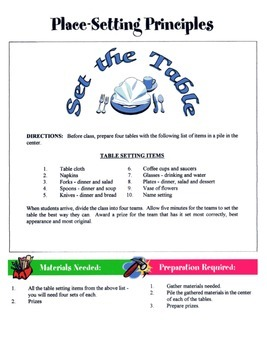 Table Settings Game / Activity