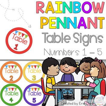 Colorful Rainbow Pennant Themed Table Signs