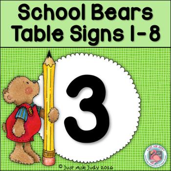 Table Signs 1-8 School Bears