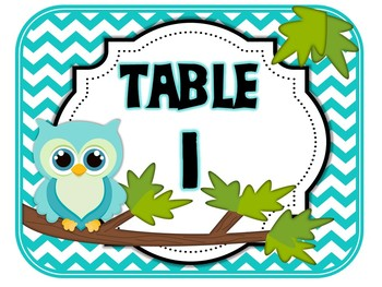 Table Signs Bright Owl Chevron (pink, purple, yellow, green, blue)