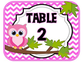 Table Signs Bright Owl (pink, purple, yellow, green, blue)