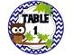 Table Signs Brown Owl Chevron CIRCLE