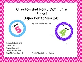 Colorful Table Signs