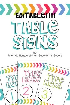 Table Signs- EDITABLE